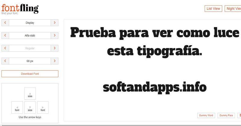 Font Fling: previsualiza y descarga fuentes de texto gratuitas