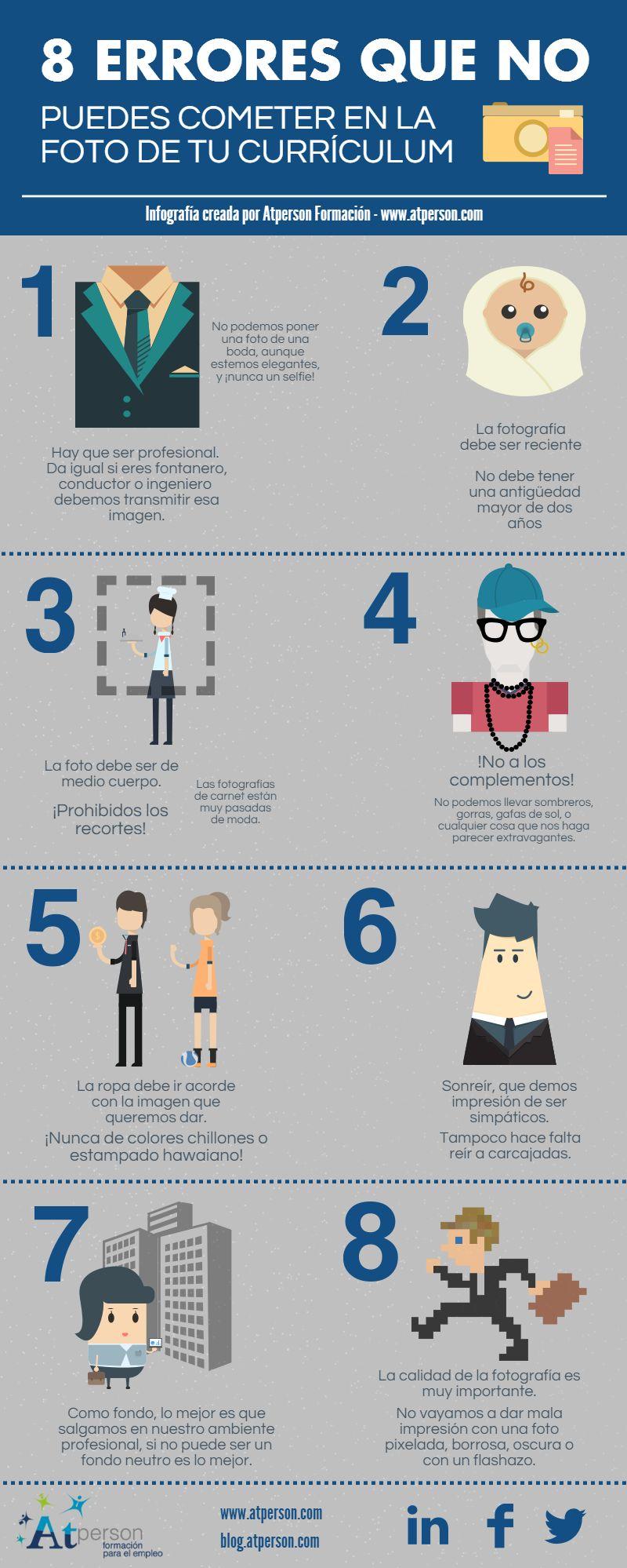 8 errores a evitar en tu foto del Currículum (infografía)