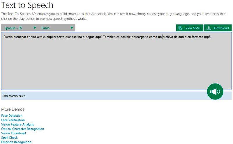 Utilidad web para convertir voz a texto y texto a voz
