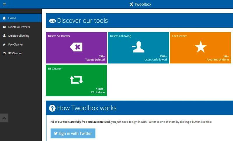 Twoolbox: herramientas para la limpieza total de una cuenta de Twitter