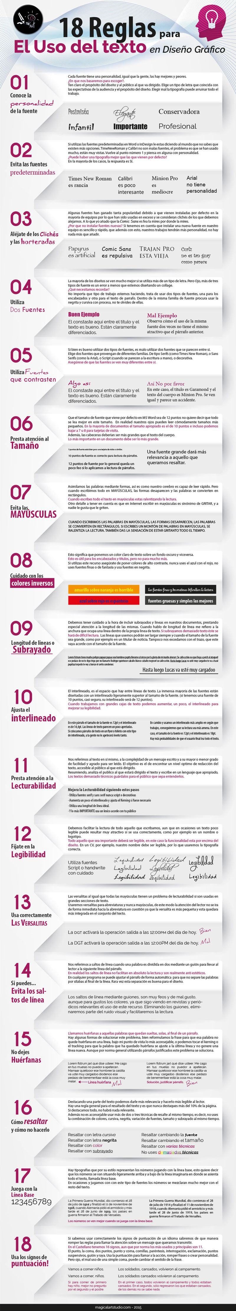 Claves para el uso del texto en el Diseño Gráfico (infografía)
