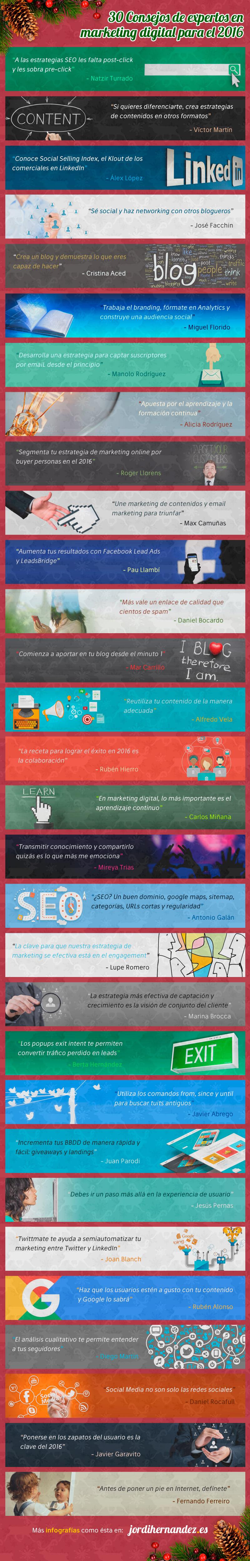Consejos de Marketing Digital ofrecidos por 30 expertos (infografía)