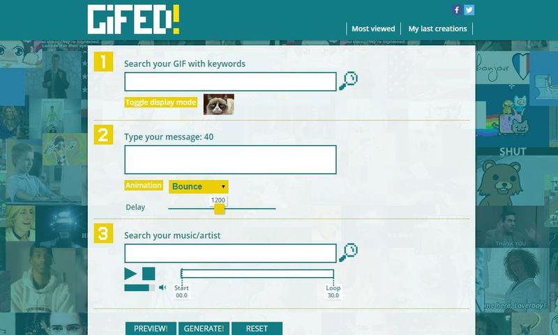 GIFED!   utilidad web para crear animaciones GIF con música y texto