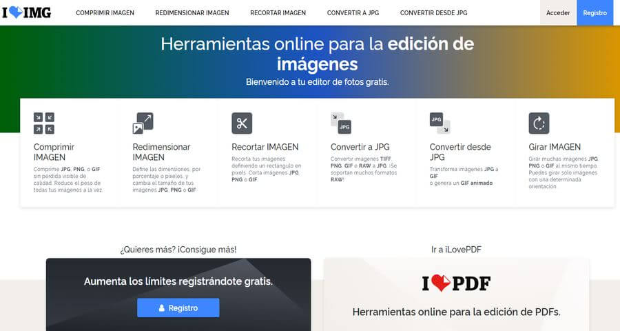 iLoveIMG: conjunto de herramientas web gratuitas para editar imágenes