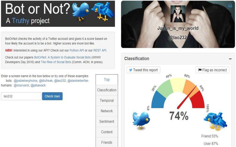 BotOrNot: comprueba si una cuenta de Twitter es un bot