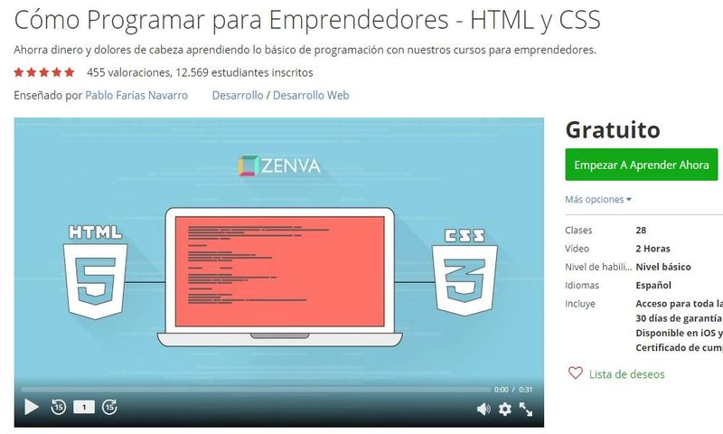 Curso gratuito de Programación para Emprendedores (HTML y CSS)