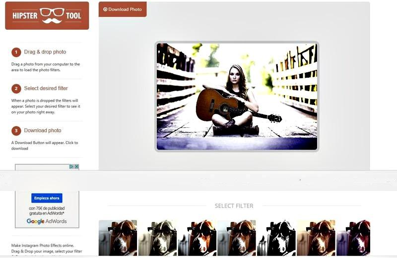 HipsterTool: utilidad web con muchos filtros para tus fotos