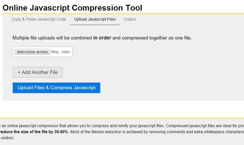 JSCompress: utilidad web para comprimir archivos JavaScript