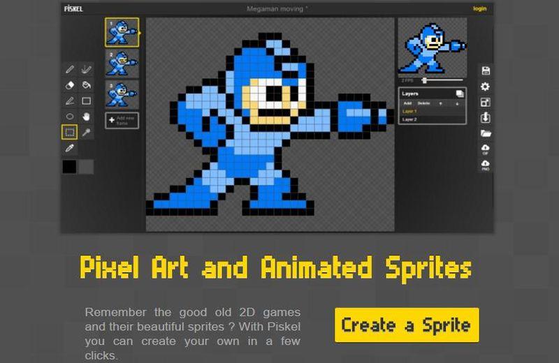 Piskel: web para crear animaciones GIF dibujadas pixel a pixel