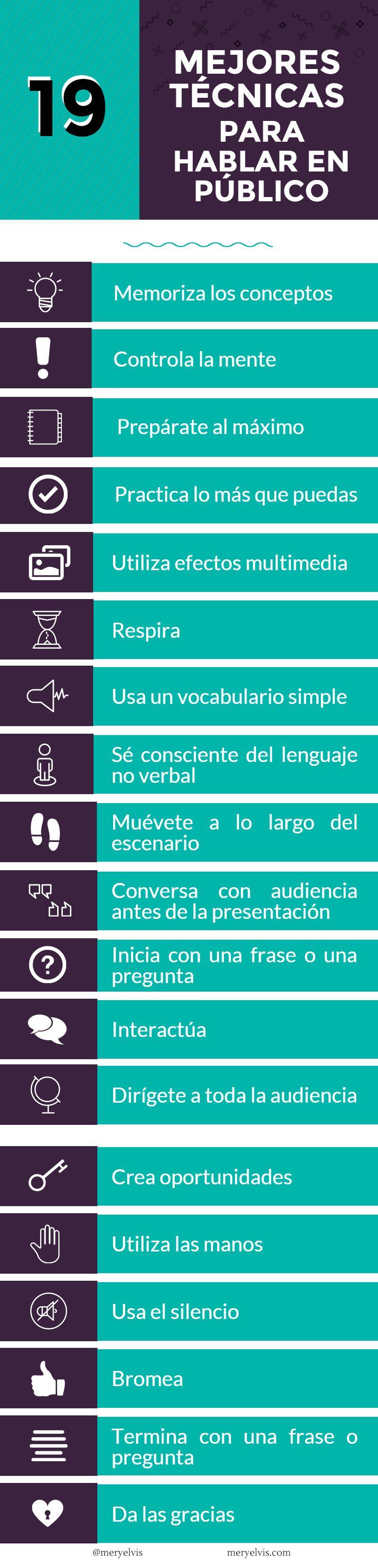 19 buenas técnicas para hablar en público (infografía)