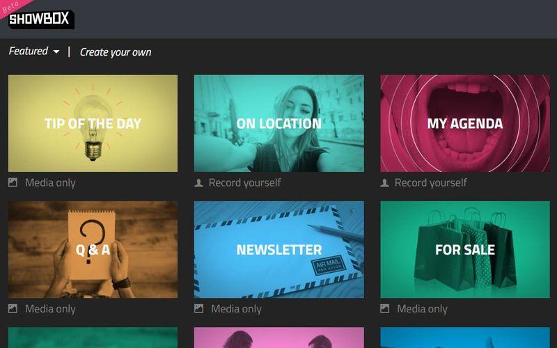 Plantillas en Showbox Showbox: editor de vídeo online y gratuito