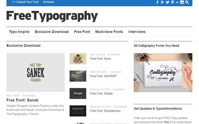FreeTypography: gran colección de tipografías gratuitas