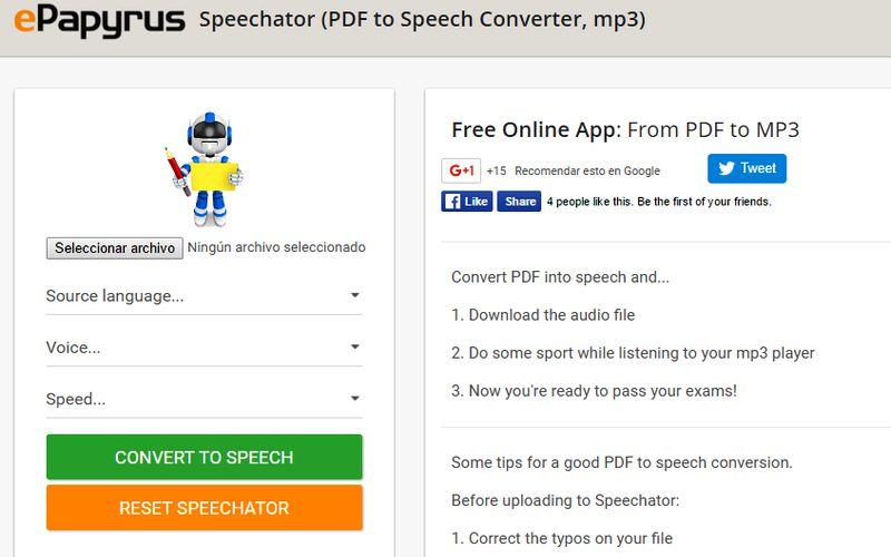 Speechator Speechator: utilidad web que lee tus PDF y los convierte a Mp3