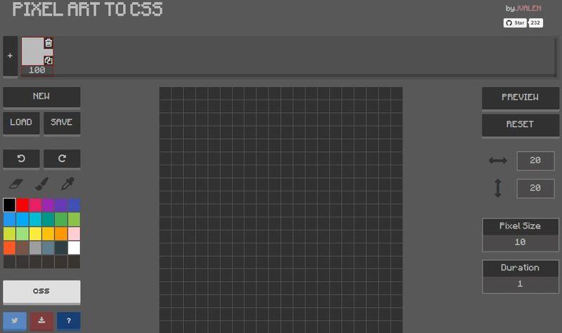Pixel Art to CSS: web para crear Pixel Art y exportar como CSS