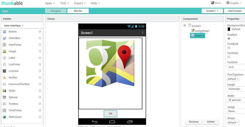 Crear apps Android sin programar - Thunkable