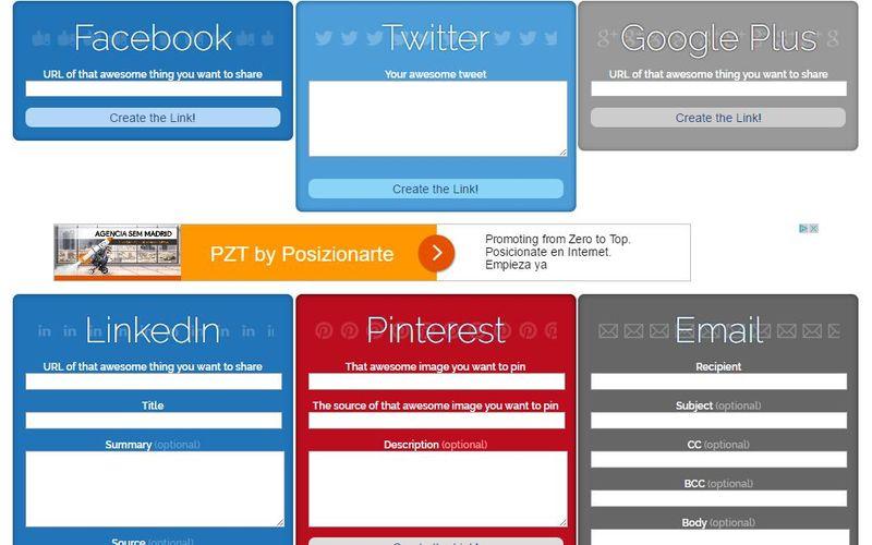Share Link Generator: generador de enlaces sociales de compartir