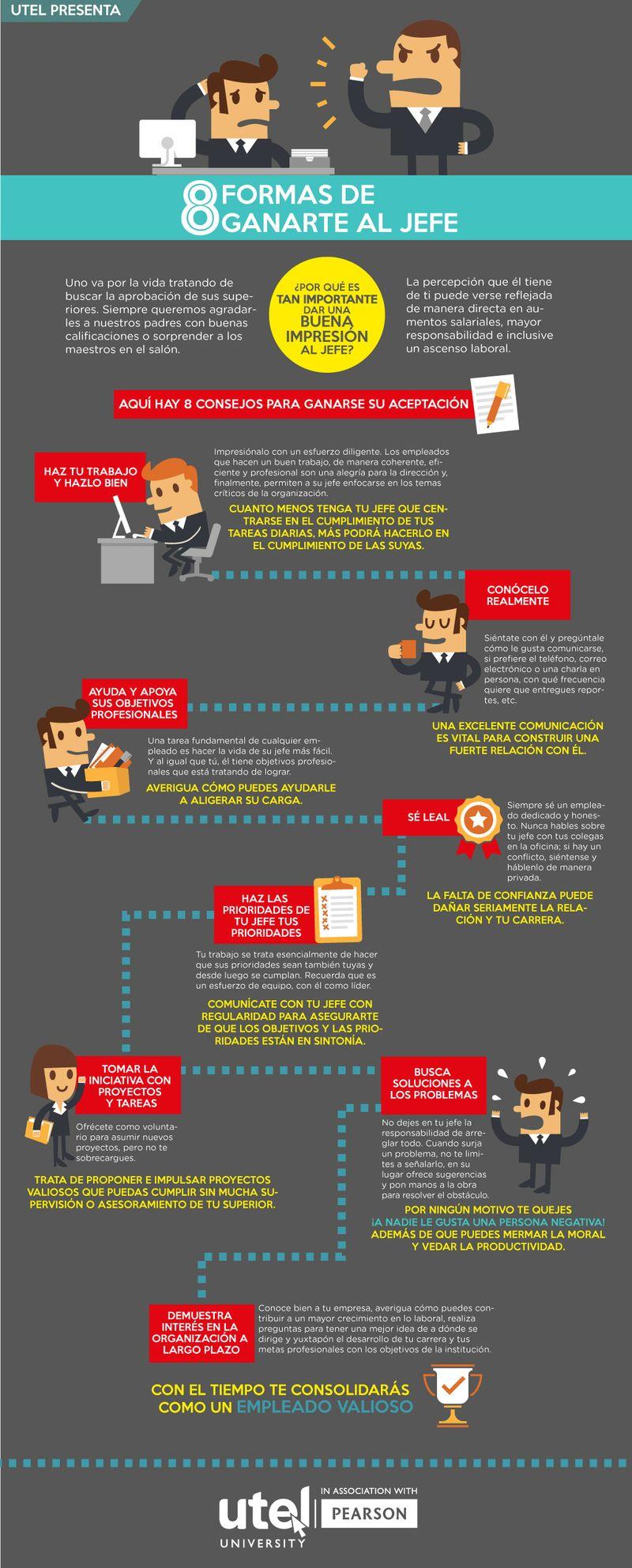 8 maneras de ganarte al Jefe Infografía 8 maneras de ganarte al Jefe que puedes aprovechar