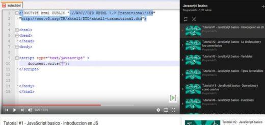 Curso de JavaScript básico gratuito compuesto por 32 vídeos