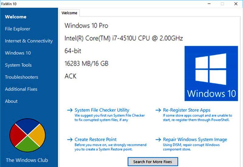 Solucionar problemas en Windows 10 con FixWin Pantalla inicial Solucionar problemas en Windows 10 con FixWin y un clic