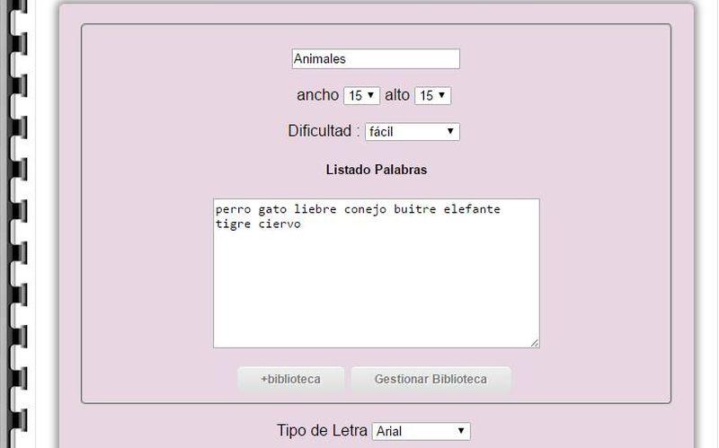 Programa para hacer sopa de letras y crucigramas en español