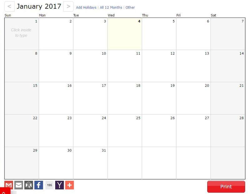 3 p ginas gratis para generar tu calendario 2017 para imprimir - Calendario 2017 para imprimir por meses ...