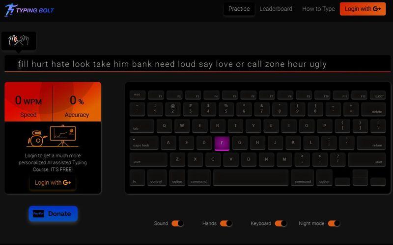 Aprender a mecanografiar rápido y online con Typing Bolt