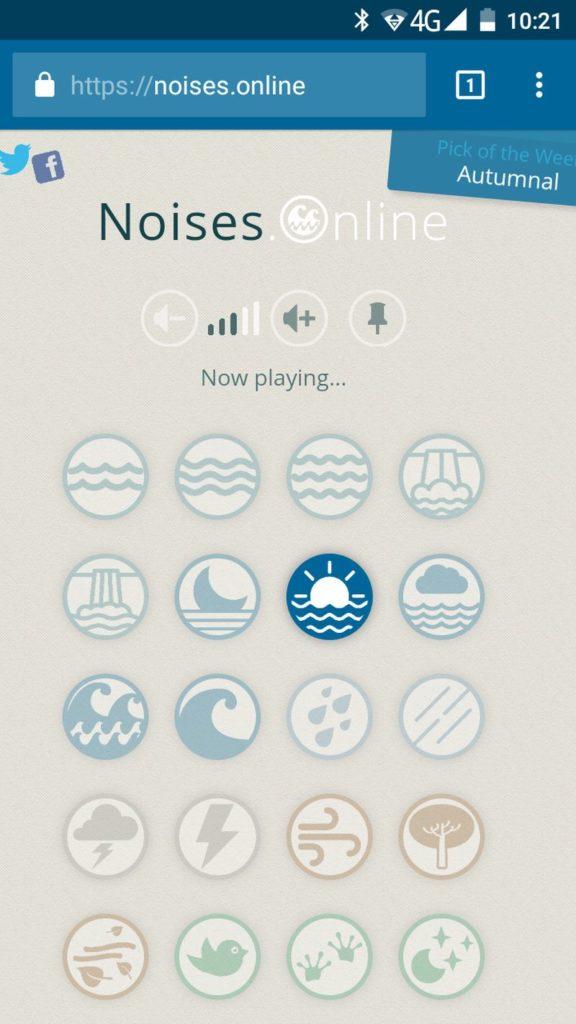 Noises Online: fantástica aplicación web para generar sonidos relajantes