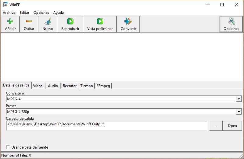 WinFF: software gratuito para convertir archivos de vídeo