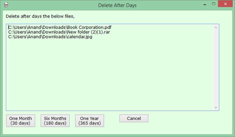 Delete After Days: software para eliminar archivos después de un tiempo