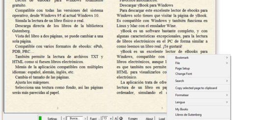 Lector de ebooks para Windows, también muestra texto plano como libros electrónicos