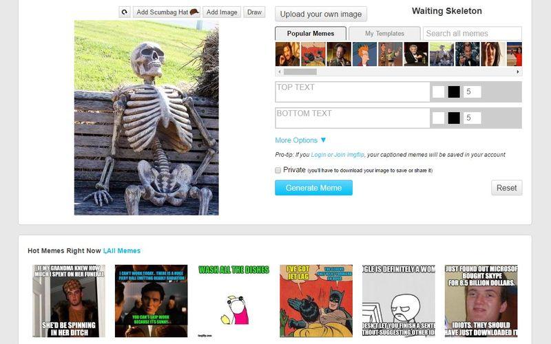 Página gratis para hacer memes, imágenes de desmotivación, gifs animados y gráficas