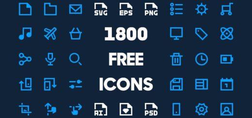 1800 iconos gratuitos para la web, Android, iOS y cualquier otro trabajo