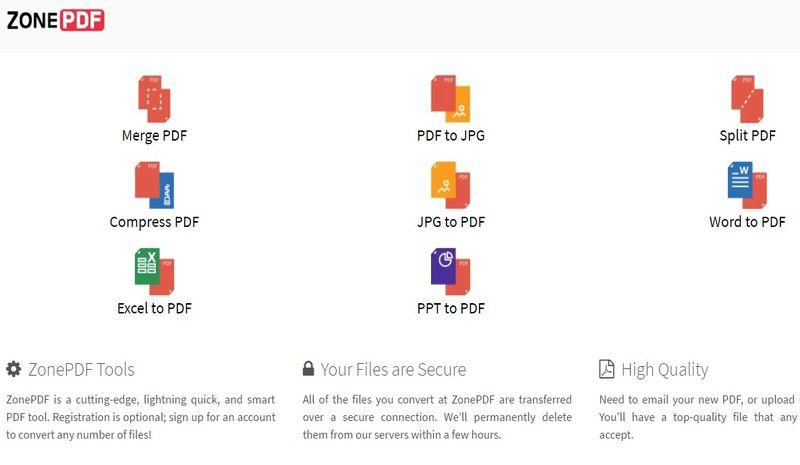 ZonePDF: colección de utilidades web para editar y convertir documentos PDF