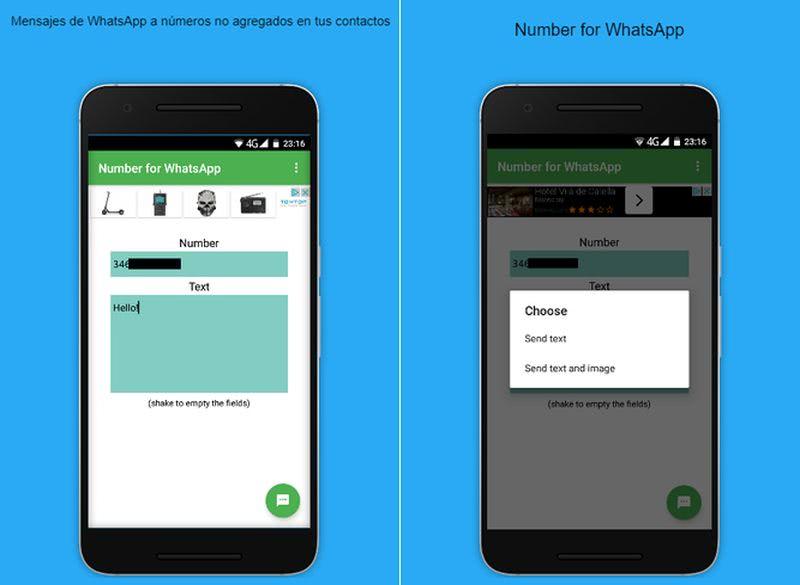 Number for WhatsApp: app Android para enviar mensajes a números no agregados