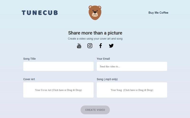 TuneCub: una página para crear vídeos con una imagen y un mp3
