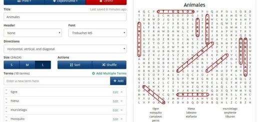 Crear sopas de letras y crucigramas online y gratis