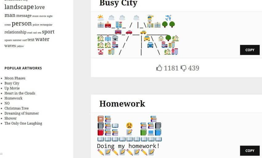 Emoji Art: copiar y pegar composiciones artísticas compuestas por Emojis