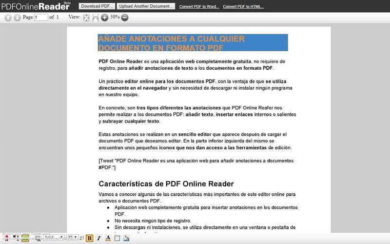 PDF Online Reader: utilidad web para añadir anotaciones a documentos PDF