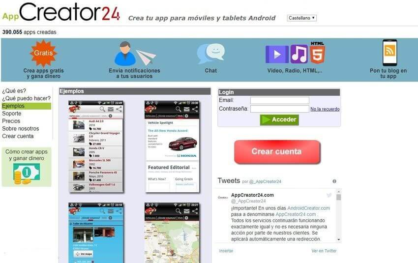 AppCreator24: página gratuita para crear apps Android sin programar