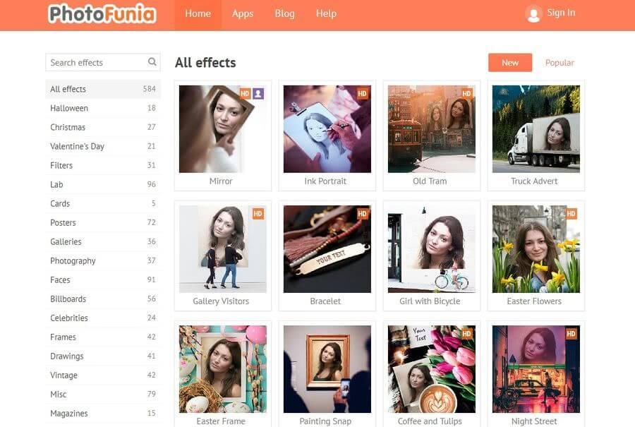 PhotoFunia: cerca de 600 filtros, efectos, marcos y montajes para ...
