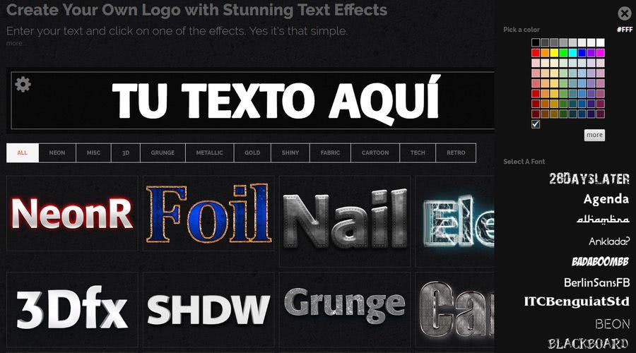 Crear imágenes con texto Crea espectaculares imágenes con texto o logos con esta aplicación web