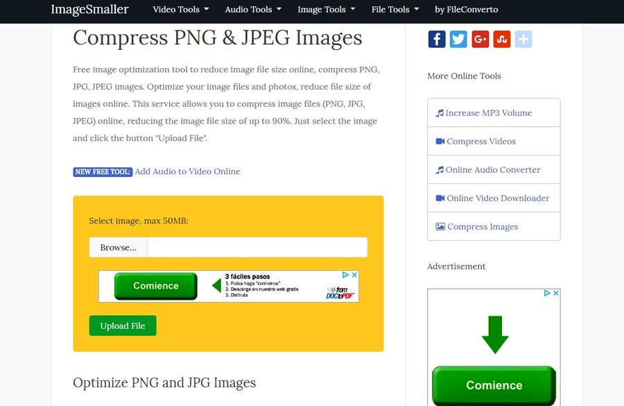 ImageSmaller: buen compresor de imágenes online que tal vez desconozcas