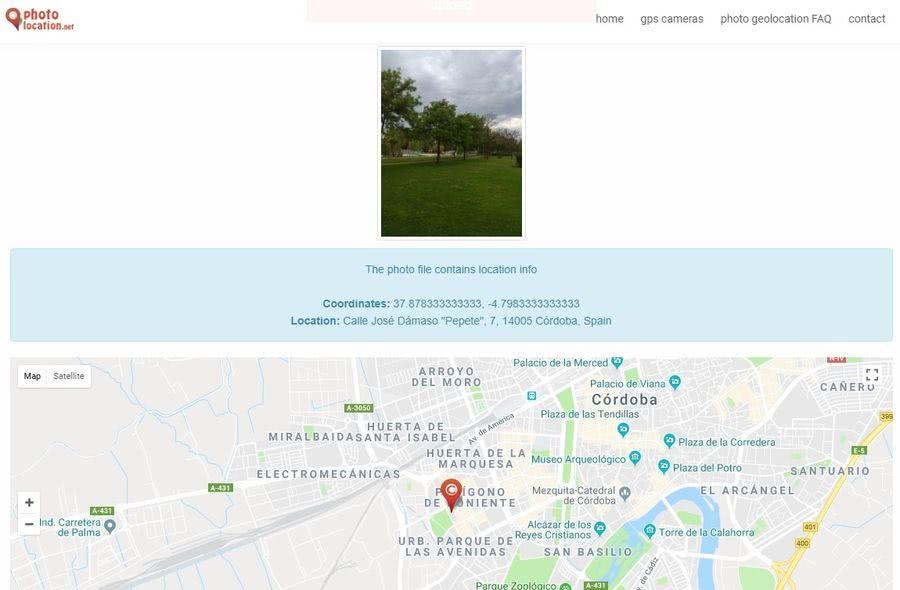 Localización de fotografías Localización de fotografías con opción de eliminar o modificar la ubicación