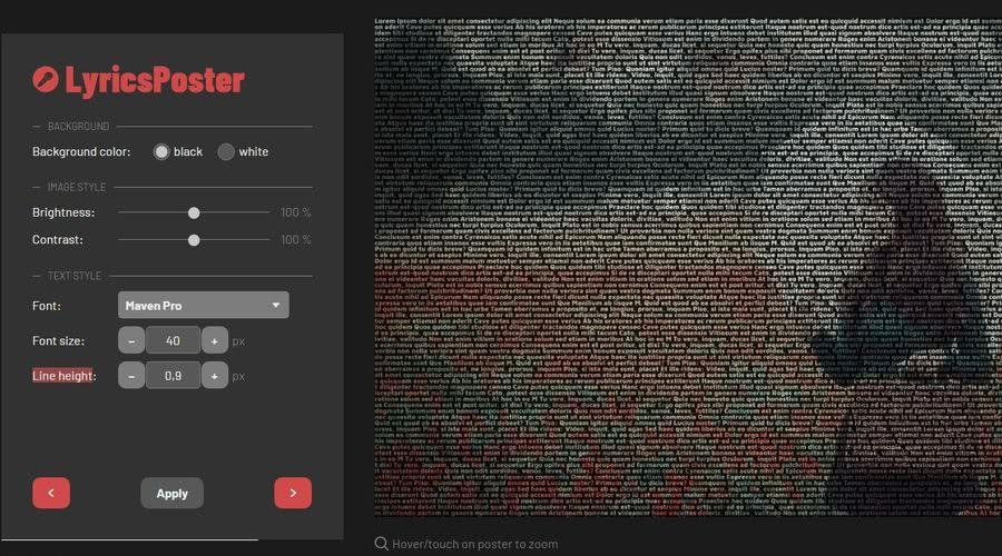 LyricsPoster editar y descargar LyricsPoster: aplicación web para crear bonitos posters con artistas y sus letras