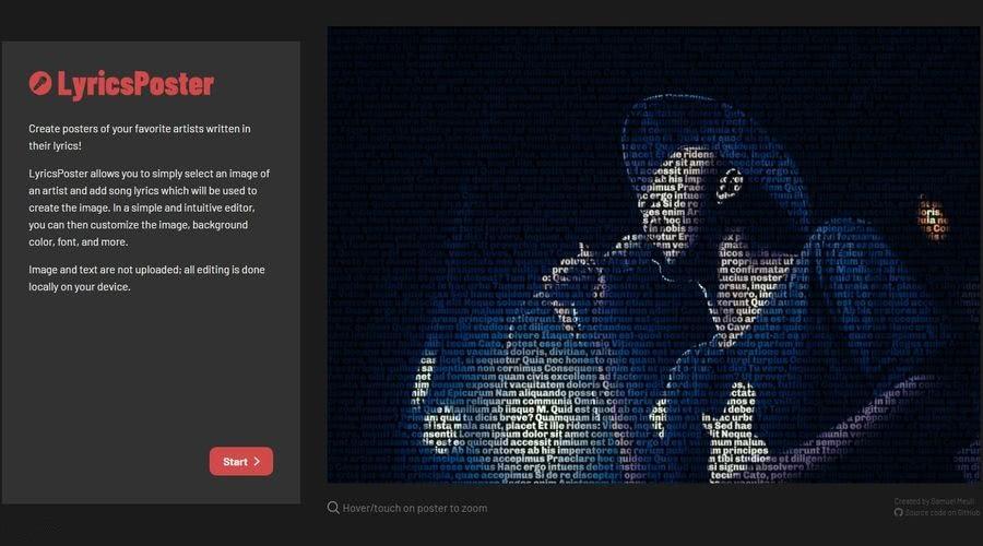 LyricsPoster LyricsPoster: aplicación web para crear bonitos posters con artistas y sus letras