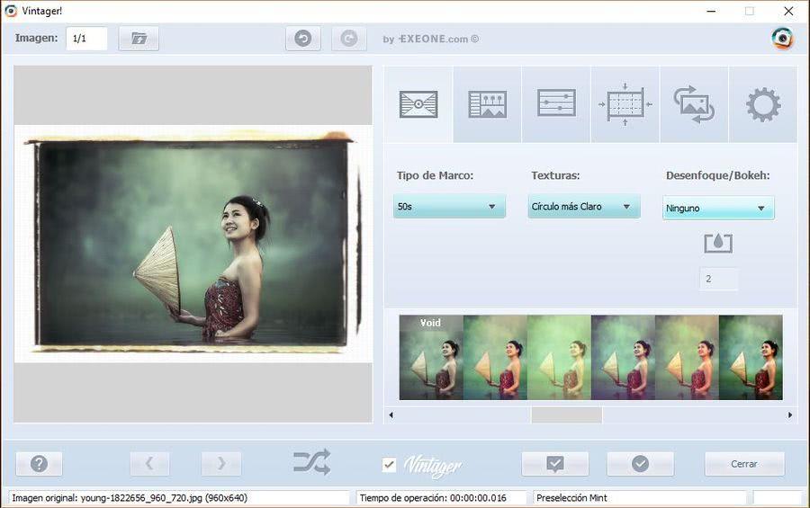 Vintager Vintager: software gratuito para aplicar efectos retro o vintage a tus fotos