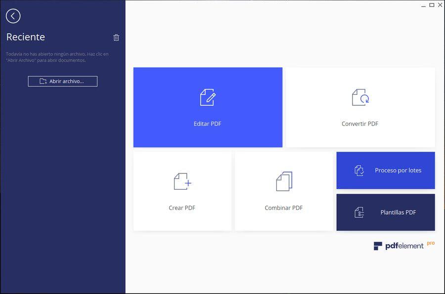 Wondershare PDFelement interfaz Wondershare PDFelement: solución más completa para visualizar, editar y convertir PDF