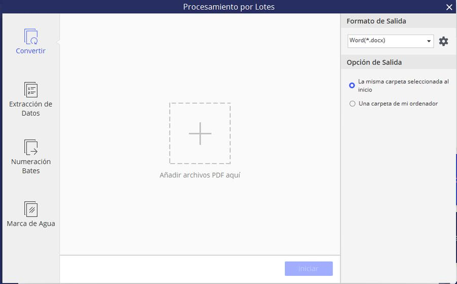 Wondershare PDFelement procesar por lotes Wondershare PDFelement: solución más completa para visualizar, editar y convertir PDF
