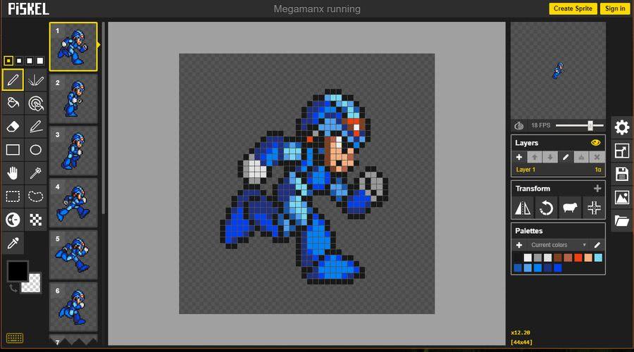 Crear Pixel Art online y animaciones GIF con la aplicación web Piskel