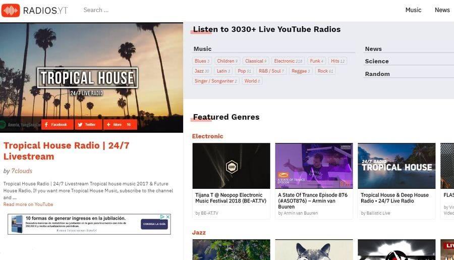 Miles de radios musicales en RadiosYT Escuchar gratis miles de radios musicales en vivo de YouTube